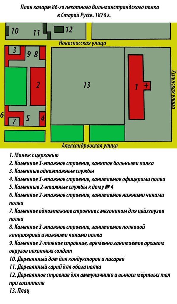 """План """"Красных"""" казарм. 1876 г."""